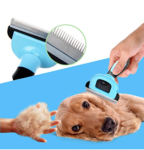 Pet Grooming Tool & Pet Grooming Brush- For Small, Medium & Large Dogs + Cats, With Short to Long Hair. Dog and Cat Brush For Shedding, Ideal Deshedding Tool, Veterinary Approved- by Speed-JS by Speed-JS (Image #4)