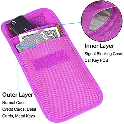 RFID Key Fob Protector, Wisdompro RF Signal Shielding Pouch Bag for Car Key FOB (Purple)