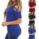Kim88 Women T-Shirt Summer Short Sleeve Strappy Off Shoulder Solid Color Tops Blouses
