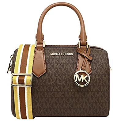 MICHAEL KORS HAYES SMALL DUFFLE BAG IN MK LOGO BROWN/LUGGAGE