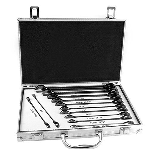 - Tooluxe 03631L Duometric Stubby Ratcheting Combo Wrench Set, 13 Piece | Cr-V with Black Nickel Finish | SAE & Metric