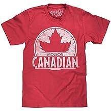 Tee Luv Molson Canadian T-Shirt - Molson Maple Leaf Beer Shirt (Red)