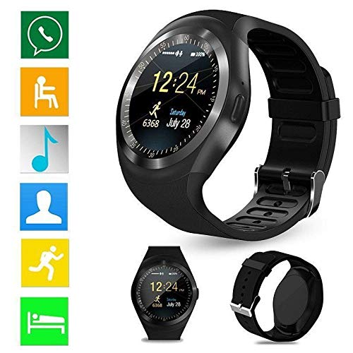 Bulges Smart Watch,Bluetooth Touch Screen Wrist Watch with Camera/SIM Card Slot,Waterproof Smart Watch Sports Fitness Tracker for Android iPhone iOS Phones Samsung Huawei for Kids Women Men (Xiaomi Bluetooth 4-1 Round Music Alarm Clock)
