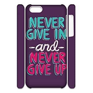 Never Give Up Wholesale DIY 3D Cell Phone Case Cover for iPhone 5C, Never Give Up iPhone 5C 3D Phone Case