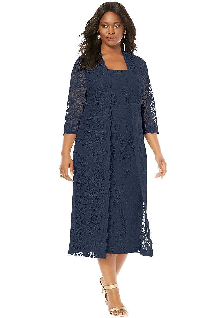 Roamans Women's Plus Size Flyaway Full Length Jacket Dress