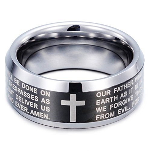 Men 8mm Black Silver Tungsten Carbide Ring English Bible the Lord's Prayer Cross Two-tone Band ComfortFit Size 11 ()