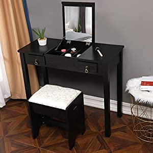 picture of shamoluotuo Makeup Vanity Table Set with Flip Top Mirror, Cushioned Stool & 2 Drawers,3 Removable Organizers Dressing Desk Comfortable Bedroom Bathroom Furniture , 35.4''L x 15.8''W x 29.5''H (Black)