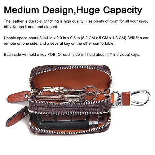 841c06050b4e Contacts Genuine Leather Double Zipper Car Key Case Holder Wallet Key Bag
