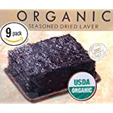 Happy Sales Organic Premium Roasted Seaweed Snacks, Sea Salt - 9 Pack