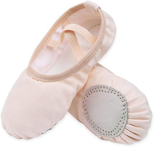 Amazon.com: Zapatillas de ballet de lona para niñas, planas ...