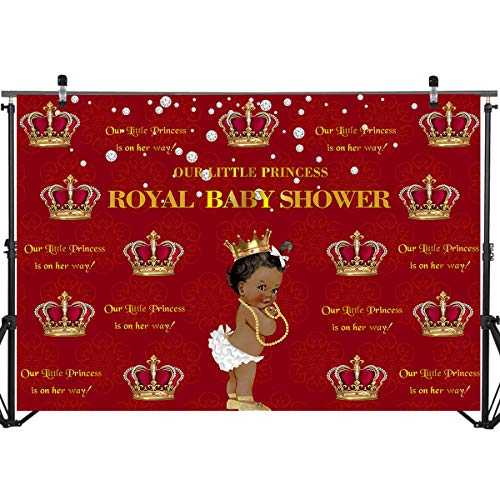 Mocsicka Royal Girl Baby Shower Backdrop 7x5ft Royal Princess Red Crown Photography Background for Decoration Party Props Welcome Little Girl Baby Shower Photo Backdrops]()