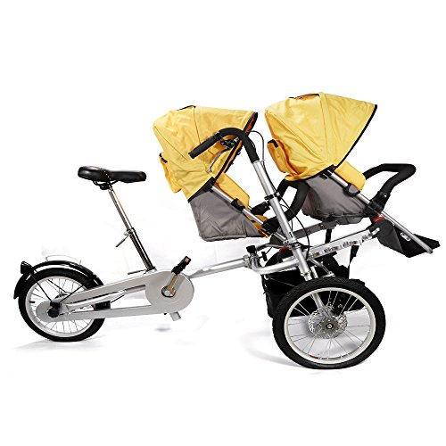 CNCEST 3in1 Folding Mother Bicycle Baby Stroller Twin Bike Pushchair Two Seats Used! Second-Hand Supplies US Stock