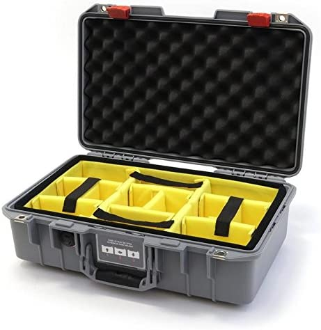 Silver /& Red Pelican 1485 Air case with Yellow dividers.