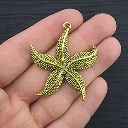 2 Large Starfish Charms Antique Gold Tone GC255