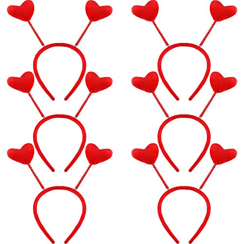 Jovitec 6 Pieces Heart Head Boppers Valentine's Day Headband Hair Accessories for Holiday Costume Party (Style 1) -