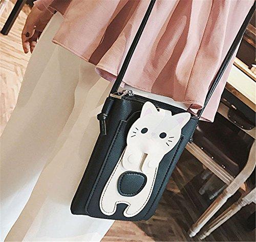 Mobile Black PU Bag Mini Bag Rrock Shoulder Messenger Bag Leather Bag Small Handbag Square Bag Color Phone Shoulder Bag Women's Four FR8x8gw