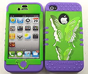 Cell-Attire Shockproof Hybrid Case For Apple IPhone 4, 4S, 4G and Stylus Pen, Light Purple Soft Rubber Skin with Hard Cover (Butterflies, Green) AT&T, T-Mobile, Sprint, Verizon, Cricket, Virgin Mobile, Boost Mobile by mcsharks