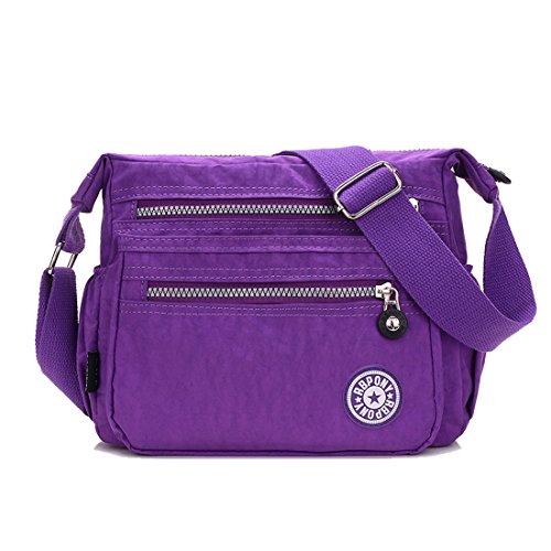 Howoo Nylon Décontractée Multi-poches Sac d'épaule Sac à main Messager Sac bandoulière Voyage Bourse pour femmes / filles bleu ciel raisin violet