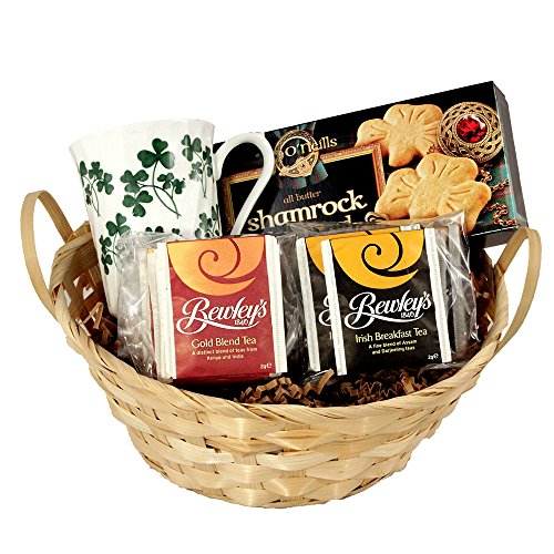 Irish Tea & Cookie Gift Basket with Irish Tea, Irish Bone China Tea Mug and Irish Shortbread Tea Cookies