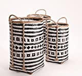 The Black and White Market Baskets with Natural Rope Side Handles, Set of 3, Tall Cylinder Shapes, Bamboo Wicker Weave, Various Sizes 23 1/2, 22 1/2 and 19 3/4 Inches Long, By Whole House Worlds