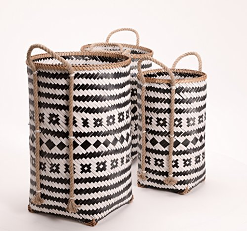 The Black and White Market Baskets with Natural Rope Side Handles, Set of 3, Tall Cylinder Shapes, Bamboo Wicker Weave, Various Sizes 23 1/2, 22 1/2 and 19 3/4 Inches Long, By Whole House Worlds by Whole House Worlds