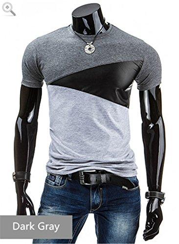 Robin Santiago NEW Designs Men T Shirt Slim Fit Crew Neck T-shirt Men Short Sleeve Shirt Casual t-shirt Men Short Shirt Dark Grey XL]()