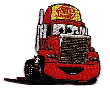 MACK Super-Liner Superliner Truck carrying Lightning McQueen red race car  in Cars Pixar Disney Movie Embroidered Iron On / Sew On Patch
