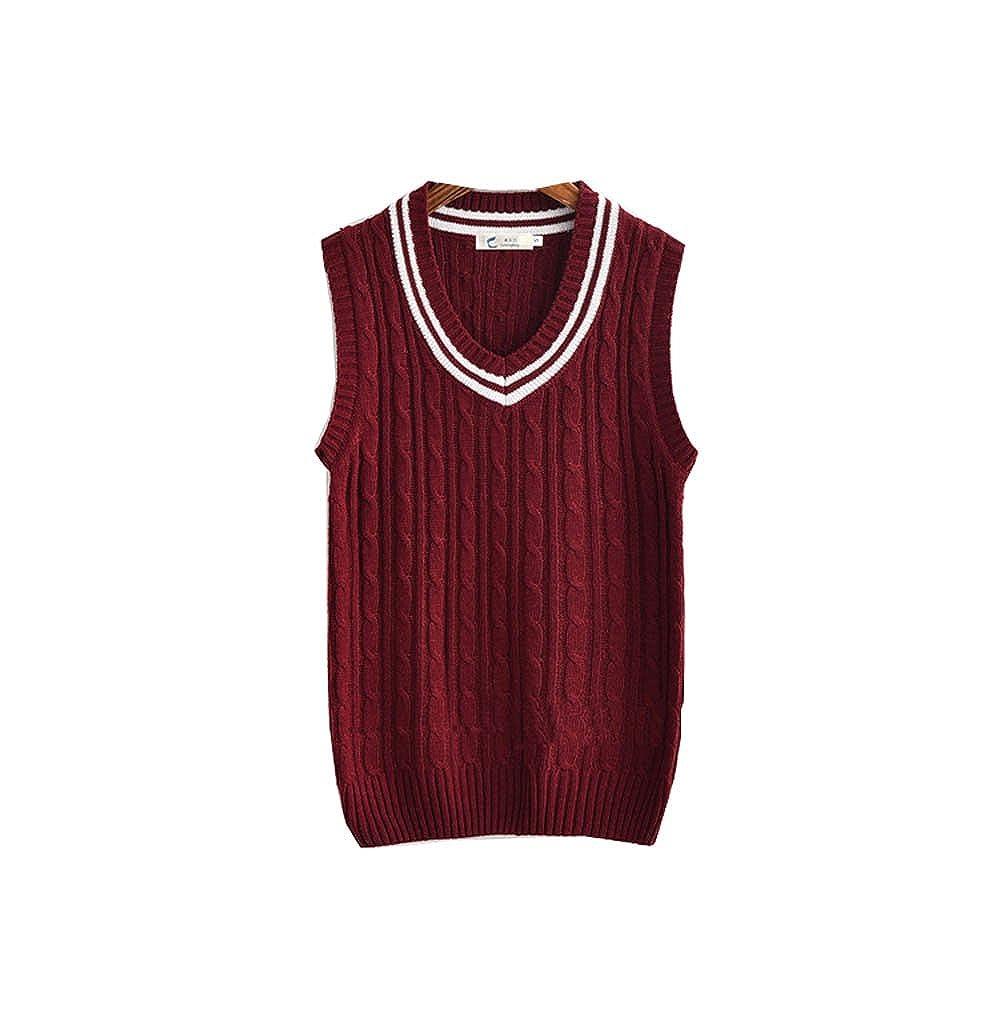 Dream-Store College Mens High School Boys Sweater Vest School Vest V-Neck Uniforms