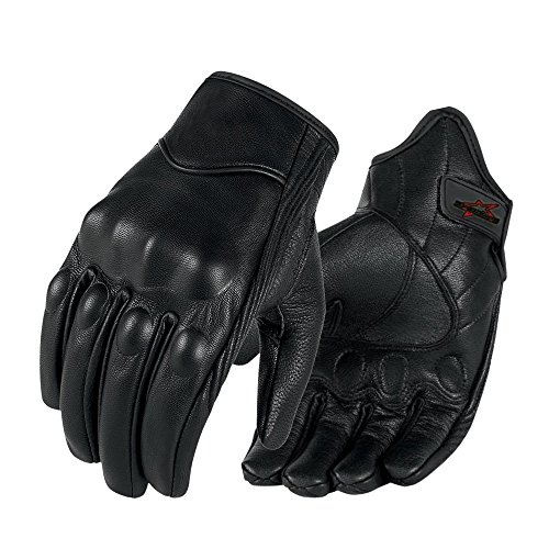 Full finger Goat Skin Leather Touchscreen Motorcycle Gloves Non-Perforated, M