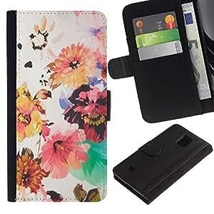 iBinBang / Flip Funda de Cuero Case Cover - Flowers Painting Pin Red - Samsung Galaxy S5 Mini, SM-G800, NOT S5 REGULAR!