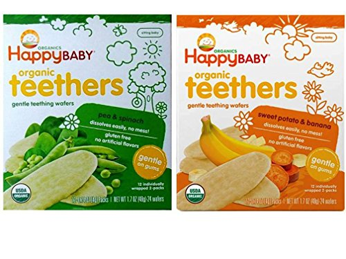Happy Baby Organic Teethers Gentle Teething Wafers 2 Flavor Sampler Bundle: (1) Sweet Potato & Banana Teething Wafers, and (1) Pea & Spinach Teething Wafers, 1.7 Oz. Ea.