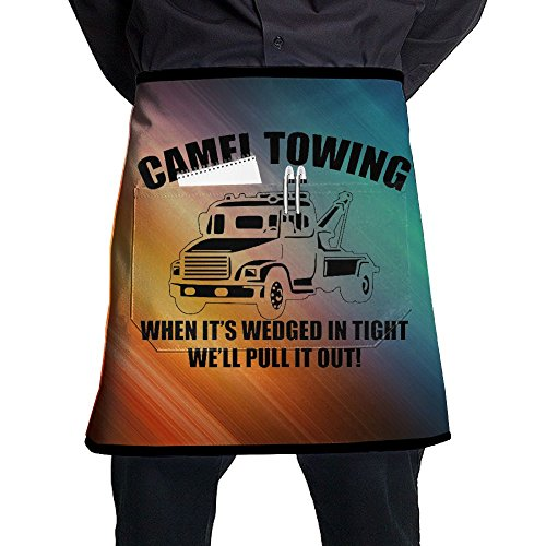 Bralla Camel Towing Half Body Waist Apron With Pocket For Bartenders, Cooking
