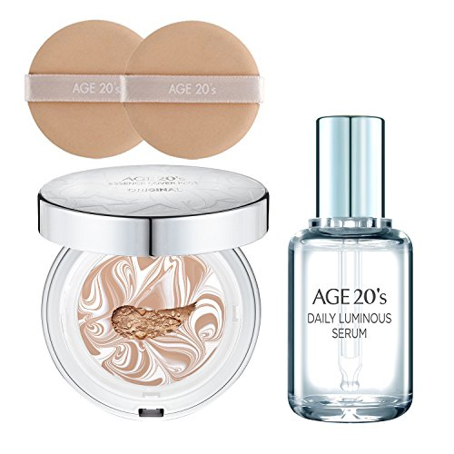 Hot [AGE 20's] Essence Cover Pact ( 1 Case[empty] + 2 Refills + 2 Puffs + GIFT: Daily Luminous Serum ) (#23 WHITE LATTE)