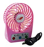 Welltop® Mini Handheld Pocket Fan Timing Set Electric Personal Fans With Timing function 4 Speeds Portable Mini USB Rechargeable Emergency Summer Fan LED Power Visual design (Pink)
