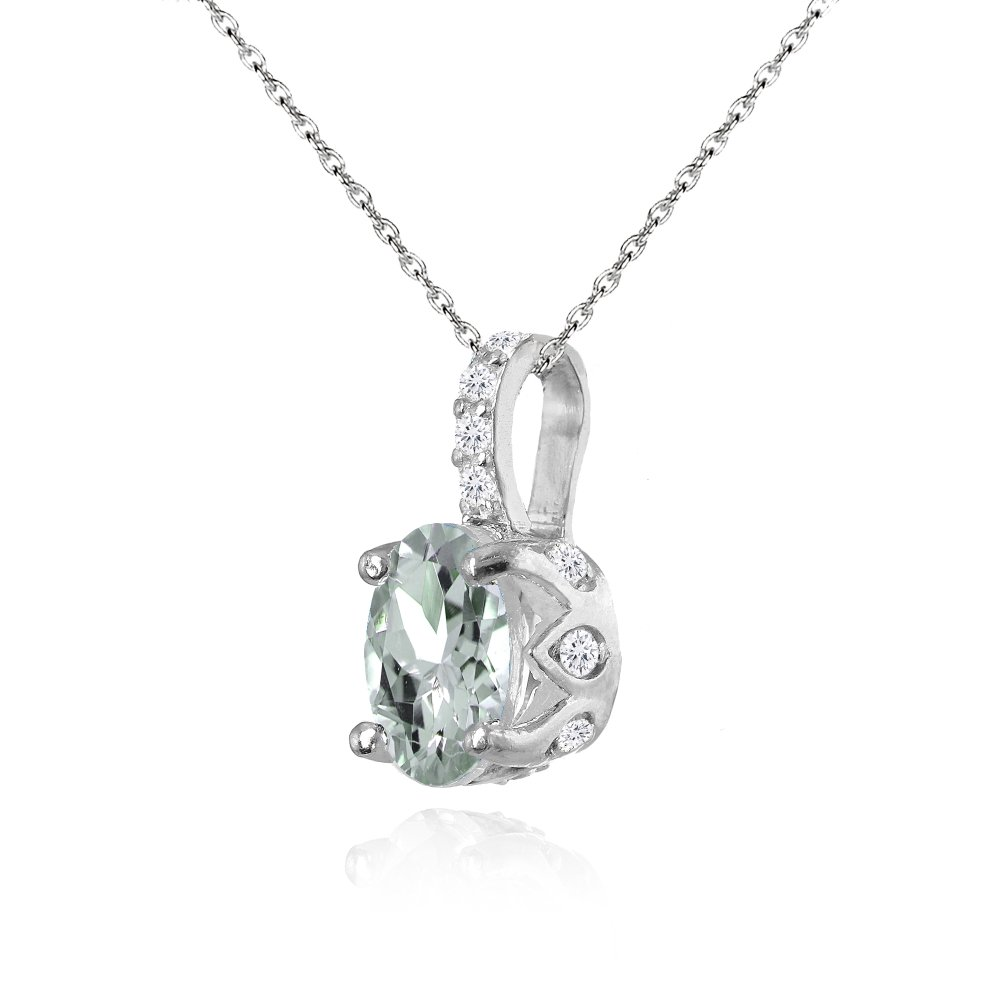 Sterling Silver Genuine, Created or Simulated Gemstone White Topaz Oval Crown Necklace