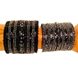 Set of 2 Wide Black & Gray Color Hand Beaded Bohemian Style Cuff Bracelet