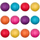 Tinksky Round Paper Lanterns in 6 Different Colors with Wire Ribbing,12pcs