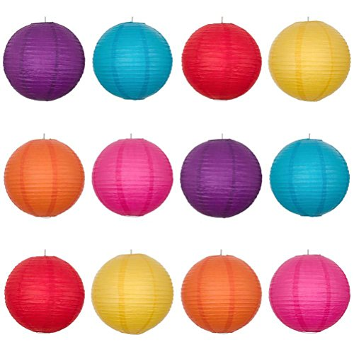 12pcs 12-inch Round Paper Lanterns with Wire Ribbing - 2
