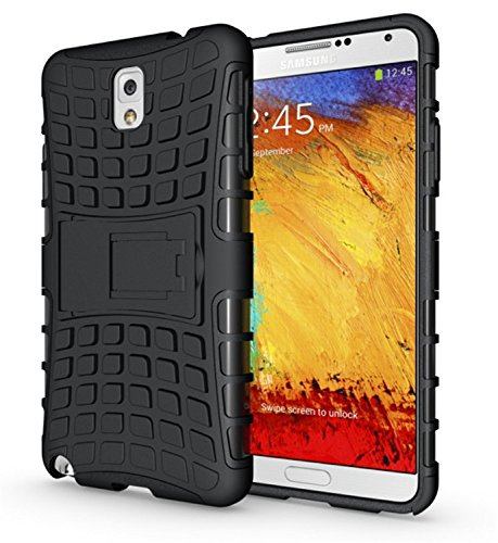 Samsung Galaxy Note 3 Case, Galaxy Note 3 Cases   Tough Impact Resistant Protective Dual Layer Armor Hybrid Hard/Soft 5 Star Bumper Case by Cable and Case   Mobile Cell Phone Case - Black