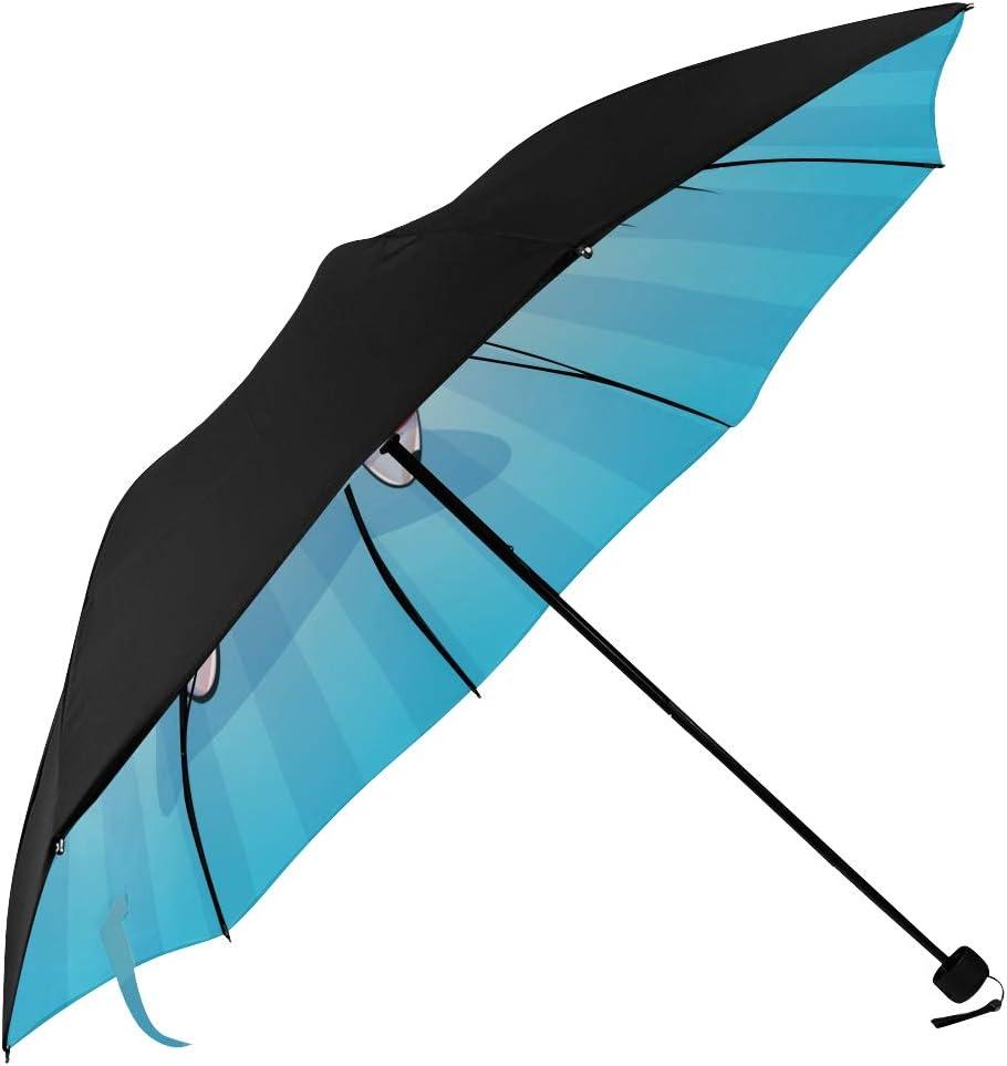 RLDSESS Cartoon Outdoor Umbrella 42 Inches 10 Ribs Men Ladies Rainproof Automatic Opening and Closing,Cartoon Drawing Black Face Cat Orange Background,Windproof