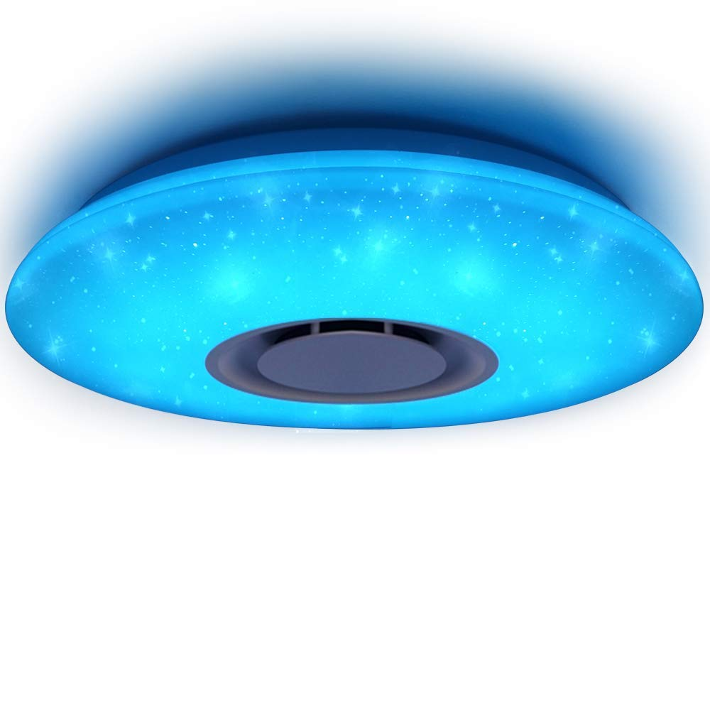 HOREVO Led Music Ceiling Light with Bluetooth Speaker 36W, High Sound Quality Speaker, Upgraded Modern Light Fixtures with RGB Color Changing, Family Party Star Lights (Remote Includes) by HOREVO