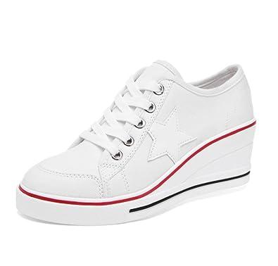 84f6eebb3c18b Chaussures de Toile Femme Compensées Basket Montante Sport Sneakers Wedge  Heels Plat Lacet Talon Compensé 6