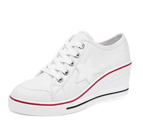 Zapatos de Lona de Cuñas Mujer Zapatillas Casual y Deportivo: Amazon.es: Zapatos y complementos