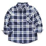 Boys' Girls' Long Sleeve Button Down Plaid Flannel Shirt
