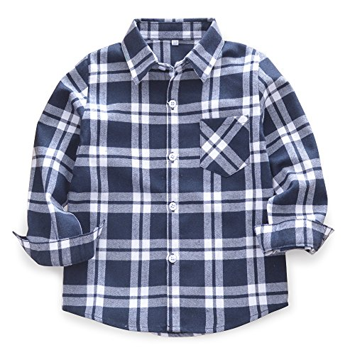 (Baby's Boys' Girls' Long Sleeve Button Down Plaid Flannel Fashionable Shirt G011 Blue White Tag 140CM - 6)