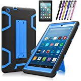 Mignova case for The New Amazon Fire HD 8 Tablet (7th and 8th Generation, Released 2017/2018) - Heavy Duty Hybrid case with Built-in Kickstand+ Screen Protector and Stylus (Black/Indigo Blue)