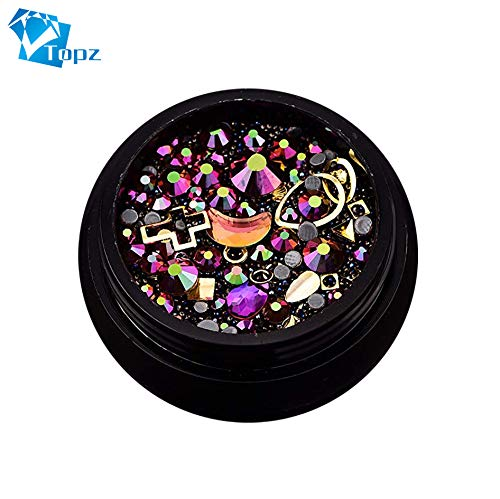 (Halloween Nail Art Decorations Mixed Nail Crystals Rhinestones Beads DIY 3D Nail Jewelry for Nails)