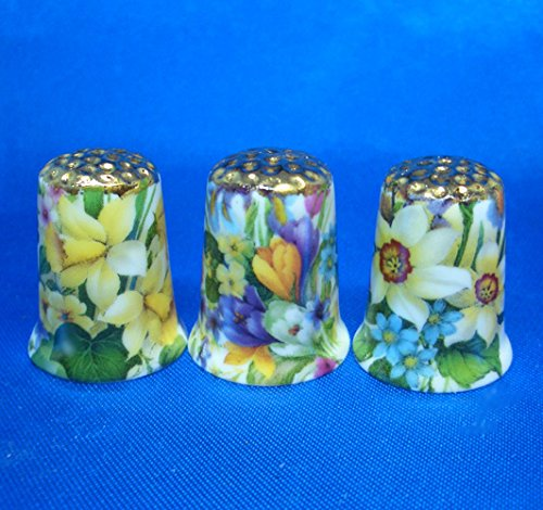 Birchcroft Porcelain China Collectable Thimbles - Set of Three Gold Spring Flowers (Band Gold Porcelain)