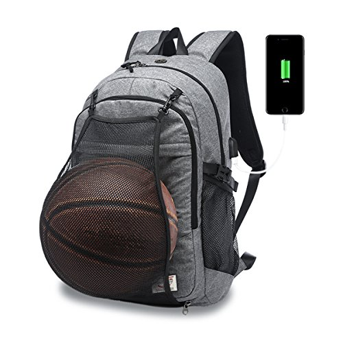 (Casual Laptop Backpack College Backpack with Basketball Nets Headphone Port & USB Charging Port Sports Bag School Bag Bookbag Travel Daypack Fits 15.6 Inch Laptop Notebook (Grey))