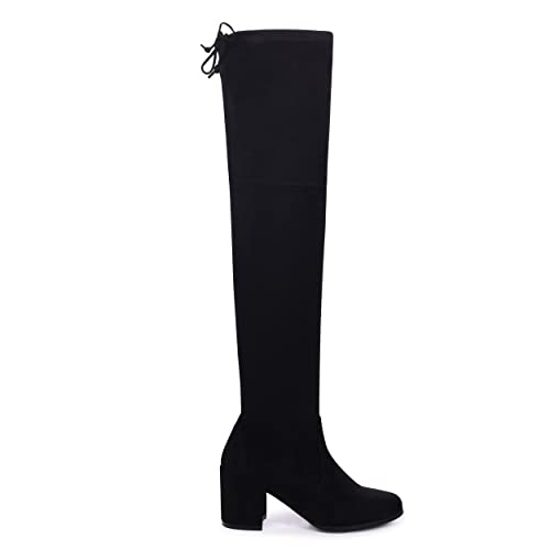 61869f8909e Linzi Amber - Black Suede Block Heeled Over The Knee Boot with Tie Up Back:  Amazon.co.uk: Shoes & Bags